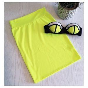 Neon Yellow LulaRoe Cassie Pencil Skirt